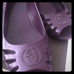 Purple rubber Gucci sandals!